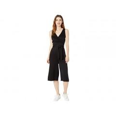 bobi Los Angeles Black Rayon Twill Crop Wrap Jumpsuit