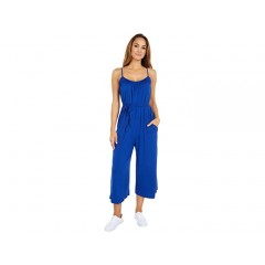 London Times Solid Rayon Jersey Cropped Leg Jumpsuit