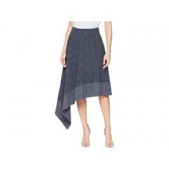 Adam Lippes Kasuri Denim Side Swag Skirt