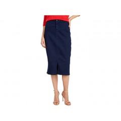 NYDJ Midi Skirt with Braided Belt Loops in Rinse