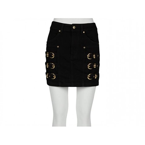 Versace Jeans Couture Denim Mini Skirt with Gold Ring Hardware