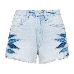 Blank NYC The Barrow Hi Rise Denim Short with Patchwork Detail in Borderlines