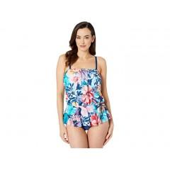 Maxine of Hollywood Swimwear Vintage Garden Over The Shoulder Peplum Mio One-Piece