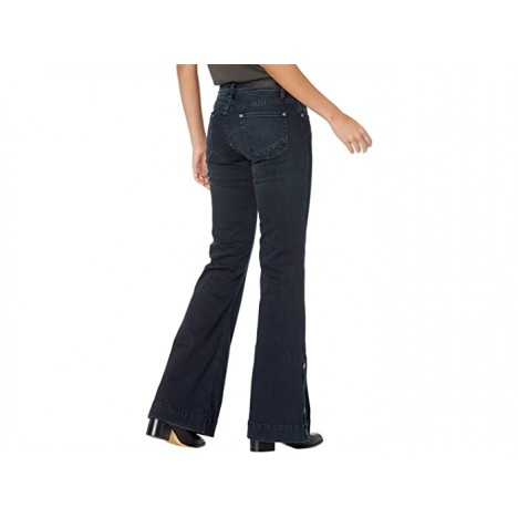 Rock and Roll Cowgirl Mid-Rise Trousers with Button Detail At Side Hem in Dark Vintage W8M6097