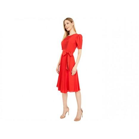 London Times Catalina Crepe Short Sleeve Pleated Midi Dress