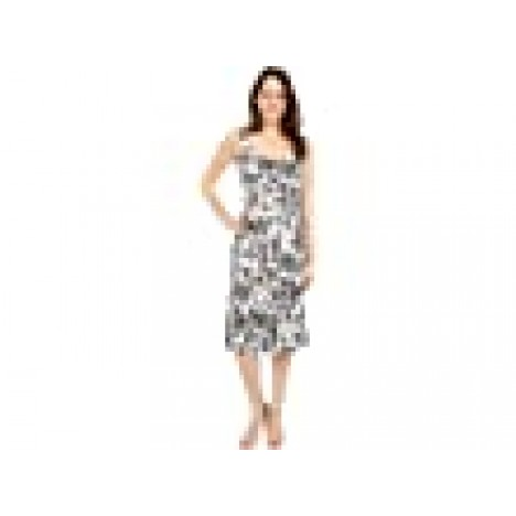 London Times Toile Botanical Printed Linen Scoop Neck Seamed Midi