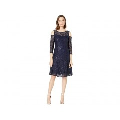 MARINA 3 4 Sleeve Cold Shoulder Stretch Lace Fit and Flare