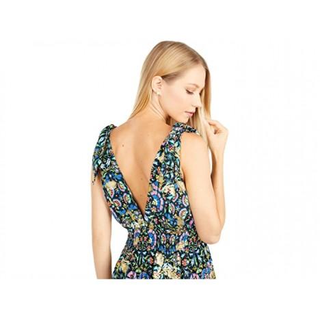 Nicole Miller Mosaic Lurex Smocked Tie Shoulder Dress