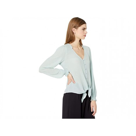 1.STATE Long Sleeve Crinkle Dobby Button-Down Tie Front Blouse