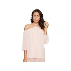 1.STATE Long Sleeve High Neck Blouse