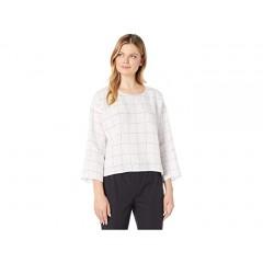 Eileen Fisher Organic Linen Grid Jewel Neck 3 4 Sleeve Top