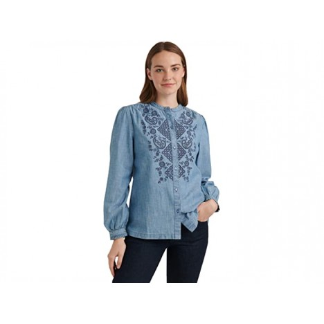 Lucky Brand Long Sleeve Button-Up Eyelet Poet Top
