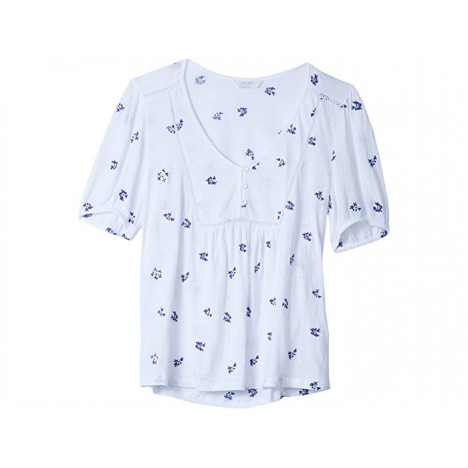 Lucky Brand Short Sleeve V-Neck All Over Embroidered Peasant Top