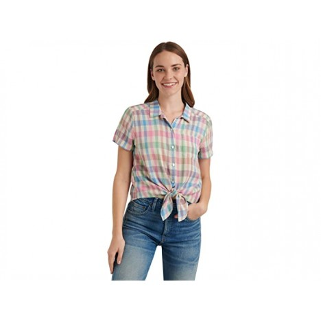 Lucky Brand Short Sleeve Button-Up One-Pocket Tie Front Shirt
